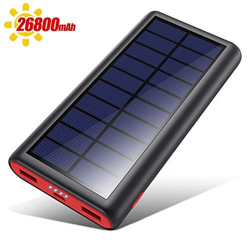VOOE Cargador Solar 26800mAh Batería Externa, Carga Rápida Solar Power Bank con Nuevo IC de Control Inteligente, 2 Puertos de USB Cargador Portátil Móvil para Smartphones, Tabletas y Dispositivos USB