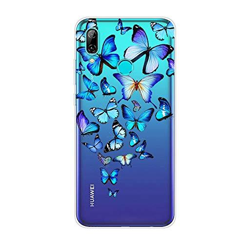 Kompatibel mit Huawei Honor 10 Lite Hülle TPU Silikon Bunt Schutzhülle,[Transparen Karikatur Silikonhülle] Hülle Gemalt,Ultra Slim Durchsichtig mit Muster Bumper Stoßfest Hülle,Blauer Schmetterling