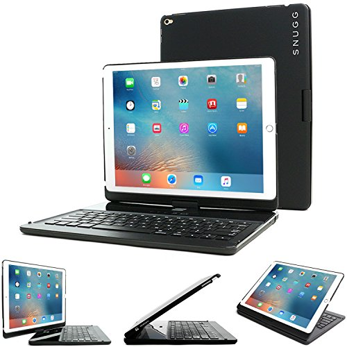 iPad Pro 12.9 2017/2015 Keyboard, Snugg [Black] Wireless Bluetooth Keyboard Case Cover 360° degree Rotatable Keyboard for Apple iPad Pro 12.9 2015/2016