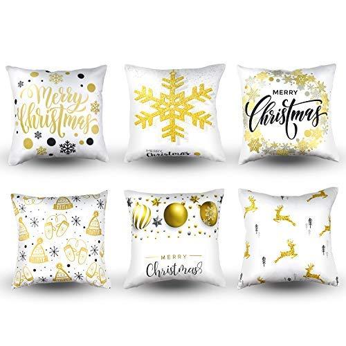 MENOLY 6 fundas de almohada de Navidad, fundas de almohada, fundas de cojín para sofá, estampado dorado, copos de nieve, felices Navidad, ciervo, 45,7 x 45,7 cm para decoraciones de Navidad