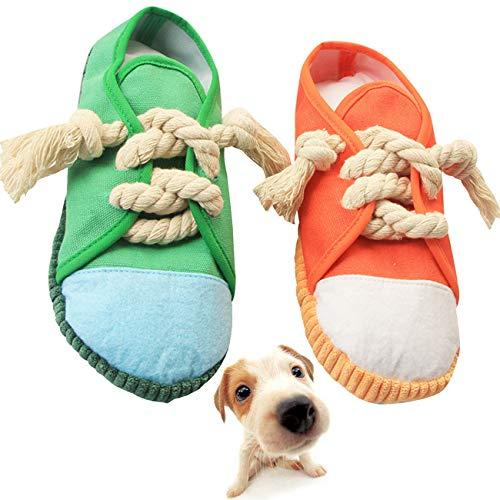 Yueser 2 Stück Hunde Kauspielzeug Pantoffelform Hundespielzeug Quietschendes Spielzeug für Haustiere für Kleine Mittelgroße Hunde Pädagogisches Spielzeug