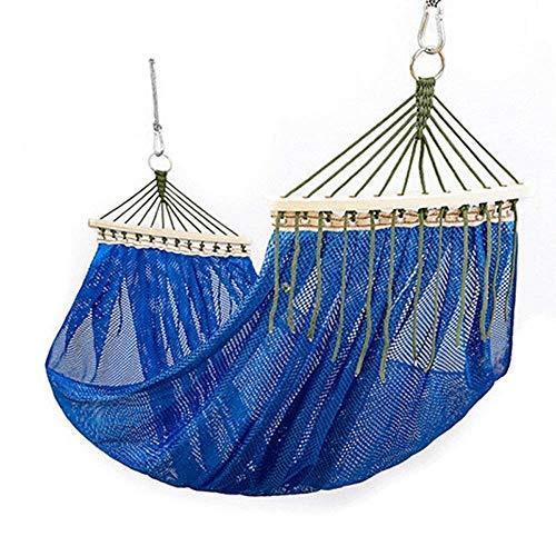 Anas Baumwoll-Hängematten-Schaukelbett für Terrasse, Veranda, Garten oder Hinterhof-Lounging - Hochleistungs-, Leicht- und tragbar - Indoor Outdoor (Color : Blue)