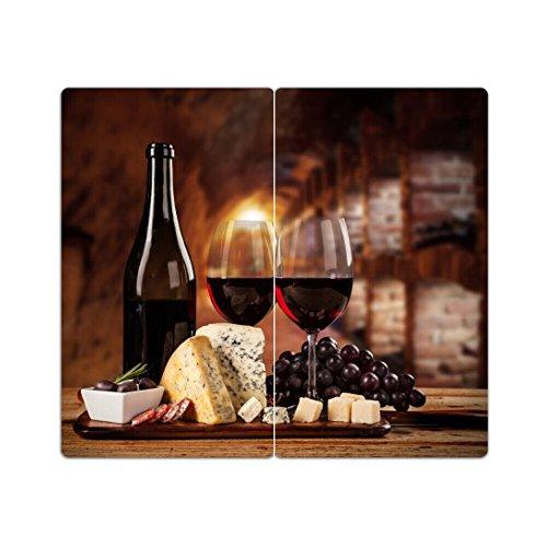 DEKOGLAS Herdabdeckplatten Set inkl. Noppen aus Glas 'Wein', Herd Ceranfeld Abdeckung, 2-teilig universal 2x 52x30 cm