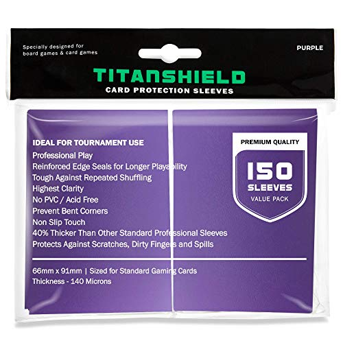 TitanShield (150 Sleeves / Purple) Standard Size Trading Card Sleeves Deck Protector for Magic The Gathering MTG, Pokemon, Baseball, Dropmix