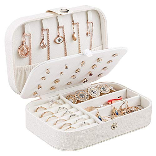 Centtechi Jewellery Box Organiser, Small Travel PU Leather Jewelry Storage Case for Rings Earrings Necklace Bracelets Jewelry Gift Box for Girls Women (White)