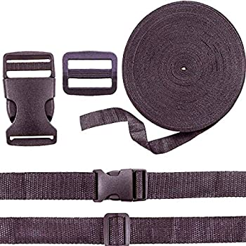 Heatoe 26 Yd 1 inch Nylon Webbing Strap Polypropylene Webbing Strap Band with 24 Set 1 inch Release Plastic Quick Release Buckle Kits with Triglides Slides for Backpack Repairing