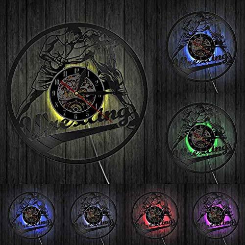 WTTA Gramófono de Lucha para Hombres, Deportes de Lucha, Disco de Vinilo, Lucha Libre, Reloj de Pared de diseño Moderno, Reloj de Pared Luminoso con Arte de Pared