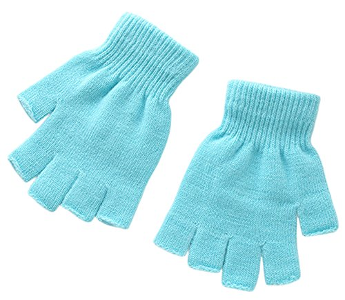 X&F Boys' and Girls' Solid Knitted Half Finger Mittens Typing Gloves, Small, Sky Blue