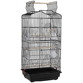Yaheetech Volière Cage à Oiseaux Perruche Mandarin Canaris Portable avec 4 Perchoirs Mangeoire 46 x 36 x 92 cm
