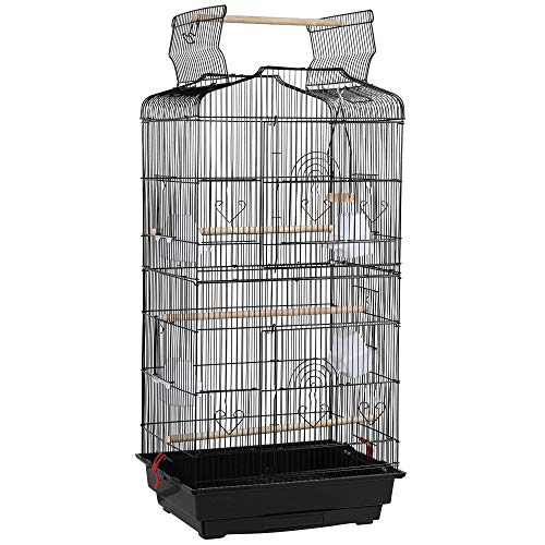 YAHEETECH 41-Inch Open Play Top Medium Size Quaker Parrot Bird Cage Cockatiel Indian Ring Neck Sun Parakeet Green Cheek Conures Lovebirds Budgies Canary Finch Parrotlet Portable Bird Cage, Black