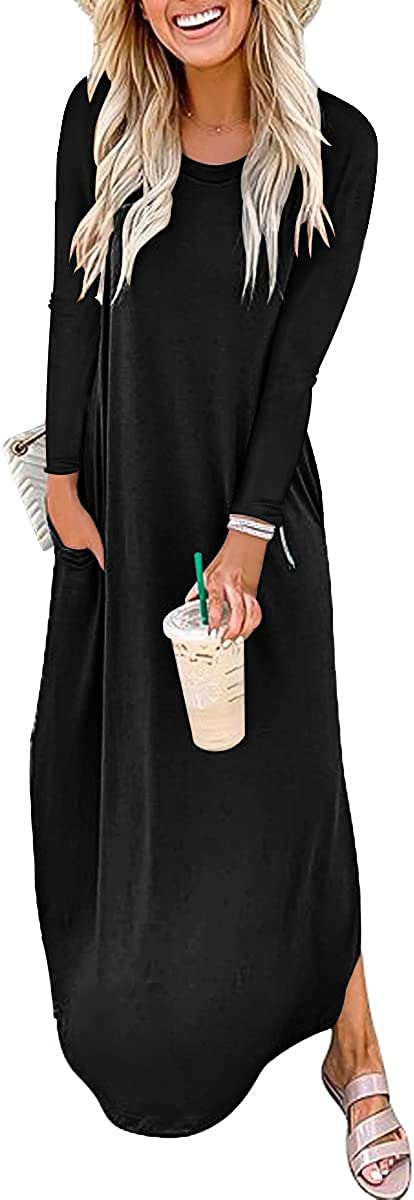Prinbara Women's Casual Loose Long Dress Sleeveless Split Maxi Dresses and Sundresses
