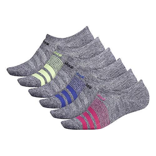 adidas Superlite Super No Show Lot de 6 paires de chaussettes pour femme, Femme, Chaussettes, 976466, Noir – Blanc Marl/magenta/noir/bleu actif/Hi, 5-10