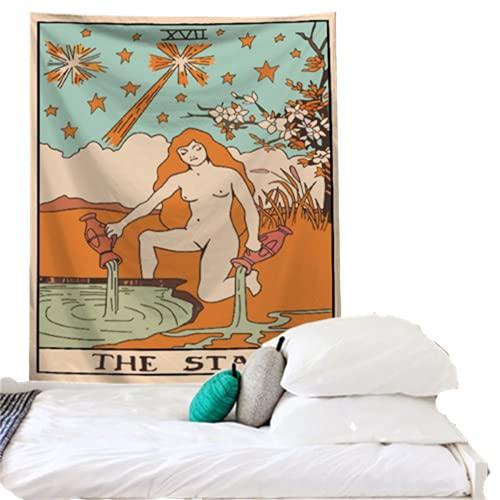 YYRAIN Decoración De La Pared del Estilo del Tarot De La Vendimia Tapiz De La Pared del Dormitorio Arte De La Pared De La Sala De Estar del Dormitorio 37x28 Inch {95x73cm}