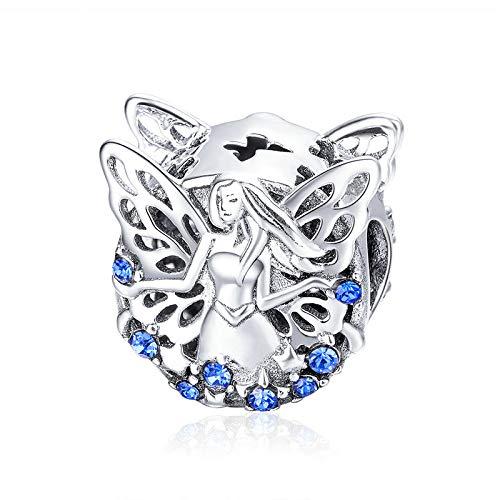 Abalorio de plata de ley 925, diseño de elfo, color azul, compatible con pulseras europeas Pandora