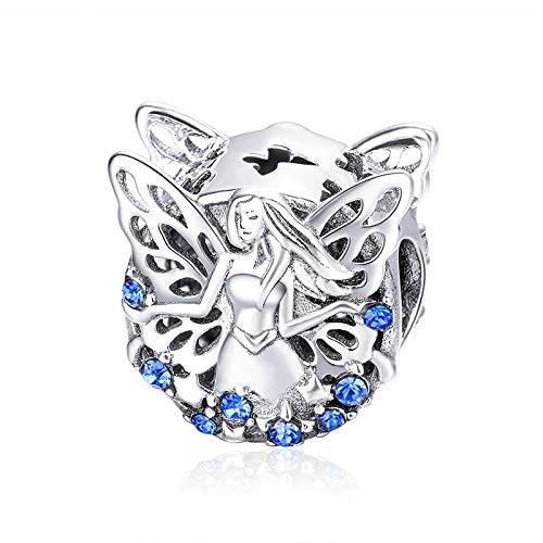 Abalorio de plata de ley 925, diseño de flor de elfo, color azul, con circonita cúbica, compatible con pulseras europeas Pandora