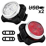 Bike Light Set, Solocil USB Rechargeable Lights for Bikes Headlamp White Front Light & Red Tail Light with 4...