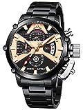 MEGALITH Relojes Hombre Militar Cronografo Reloj Acero Inoxidable Negro Relojes de Pulsera Analogico Impermeable Luminoso Fecha