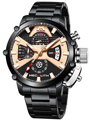 MEGALITH Herrenuhr Militär Chronograph Herren Armbanduhr Edelstahl Schwarz Groß Uhren fur Männer Wasserdicht Analog Design Uhr Herren Datum Leuchtend
