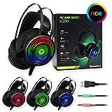 I-CHOOSE LIMITED GameMax G200 Lärm Abbrechen Wired Pro Gaming-Kopfhörer & Mikrofon/Stereo LED Hintergrundbeleuchtete Kopfhörer für PC, Laptop, Telefon