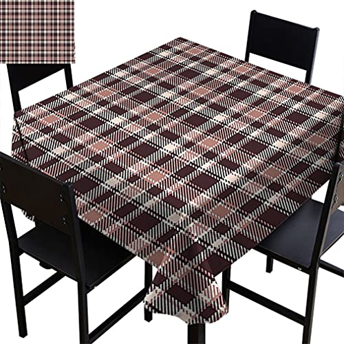 Vintage Tablecloths, Gingham Style Checkered Lines Popular Fashion Featured Artful Image Fabric Table Cloth for Restaurant Banquet, 70' x 70' Multicolor