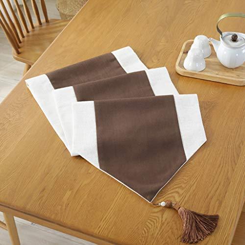 HAIYING Table De Thé Drapeau De Table Simple Moderne Chinois Zen Thé Cérémonie Style Chinois Nouvelle Table De Thé Chinoise Thé Nappe De Coton Lin Art (Couleur : Café, taille : 38 * 180cm)