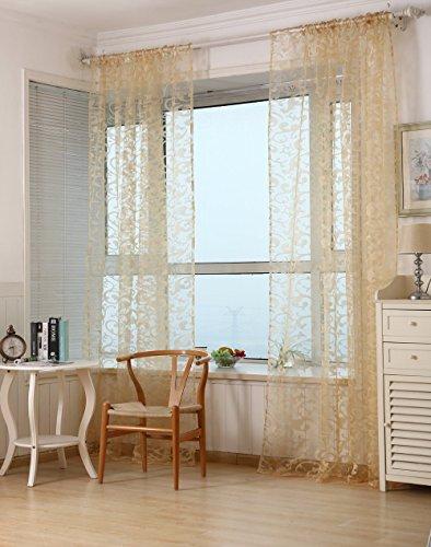 Klebeband-Plissee-Typ-Garn Cortinas Wohnzimmer Schlafzimmer Fenster Tüll-Vorhang modern, mit Luxus-Vorhänge, gelb, 1PCS W300cm X H260cm