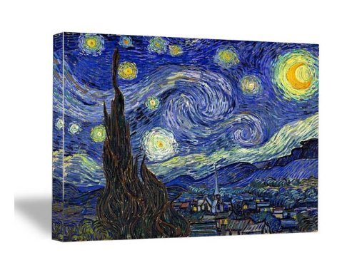 Wieco Art Starry Night Canvas Print of Van Gogh Oil Paintings Reproduction Modern Canvas Print Artwork Abstract Landscape Pictures Printed on Canvas Wall Art for Home Office Decorations