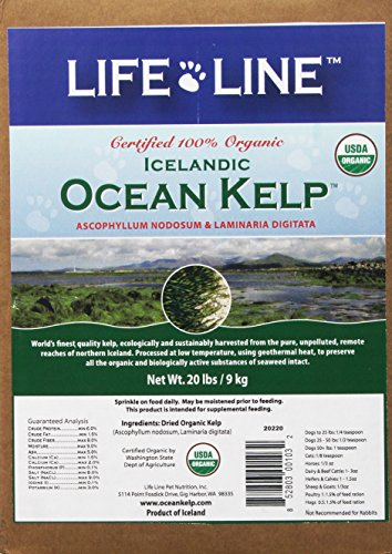 Life Line Pet Nutrition Organic Ocean Kelp Supplement for Skin & Coat, Digestion in Dogs & Cats, 20lb (20220)