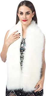 Women Luxurious Large Winter Faux Fur Scarf Wrap Collar Shrug for Lady Poncho Wedding Dinner Party