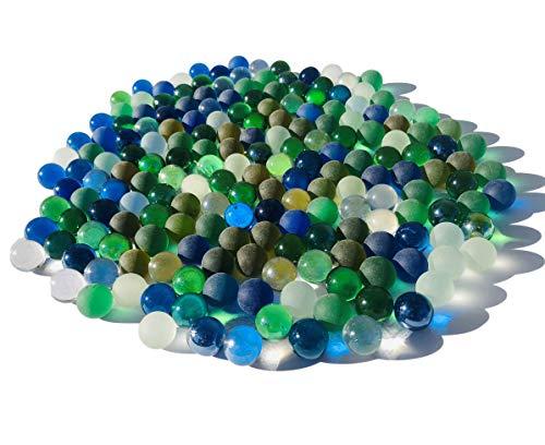 Rhinestone Paradise 180 Stück 1kg Bunte Murmeln blau grün klar Murmel Glaskugeln Dekokugeln 16mm Murmel Blaue Glas deko Glas Kugel Murmeln aus Glas