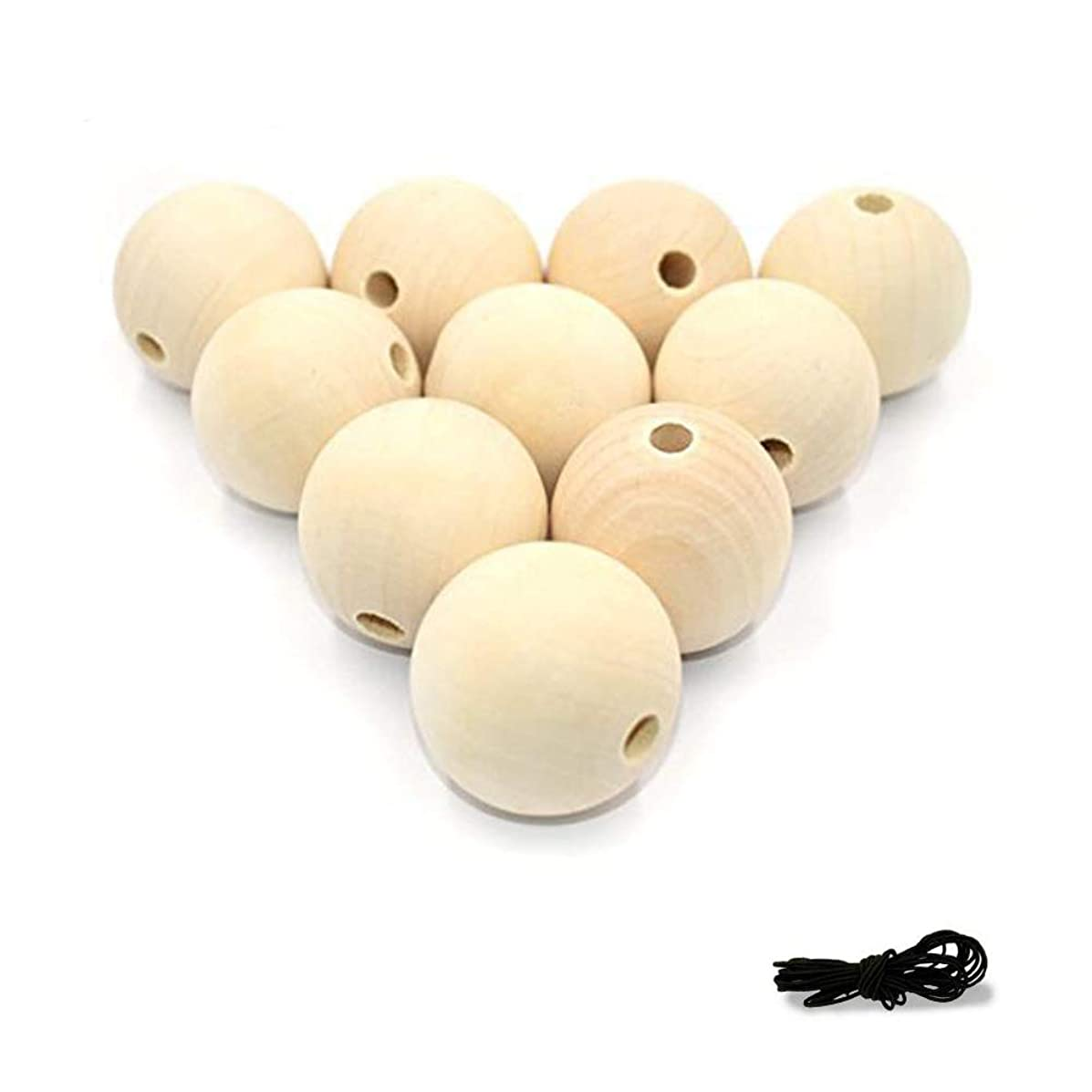 R.FLOWER Natural Wood Beads Round Ball Wooden Loose Beads Unfinished Wood Spacer Beads for Craft-making  10pcs (40mm)