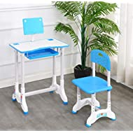 BP Kids Desk and Chair Set, Height Adjustable Children Study Table with Tilted Desktop Anti-Reflective Tabletop, Pull Out Drawer Storage for School Students, Best Study Gifts for Boys and Girls