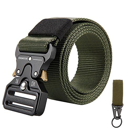KingMoore Men's Tactical Belt Heavy Duty Webbing Belt Adjustable Military Style Nylon Belts with Metal Buckle