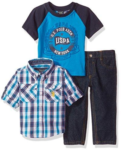 U.S. Polo Assn. Baby Boys' Sport Shirt, Creeper and Pant Set, 0682-Multi Plaid, 18M