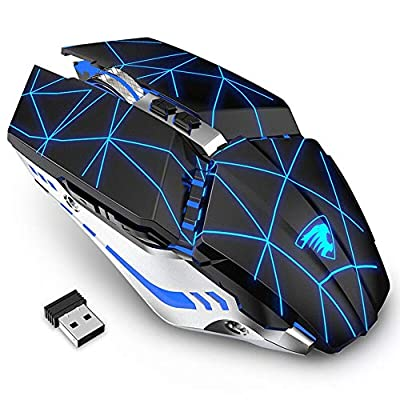 TENMOS T12 Rechargeable Wireless Gaming Mouse, 2.4G Silent Optical Wireless Computer Mice with Changeable LED Light Compatible with Laptop PC, 7 Buttons, 3 Adjustable DPI (Starry Black)