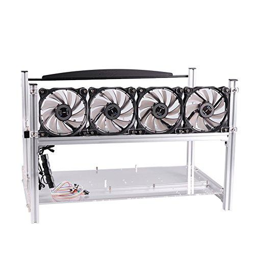 Espeedy 6 GPU Mining Frame Fall mit Ventilatoren Aluminium Computer ETH Open Air stapelbare Rig für Bitcon Miner Kit
