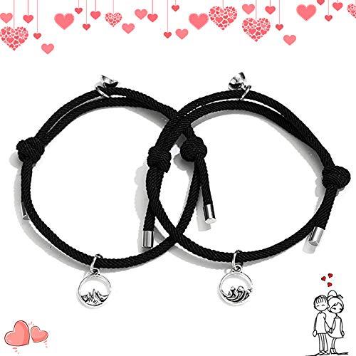 Paararmband, Liebhaber Geschenke, Armbänder für Paare, Magnetische Paar-Armbänder, magnetisches Armband für Männer Frauen Paare, Freundschaftsarmband für Liebhaber, Paar Seil Armband schwarz