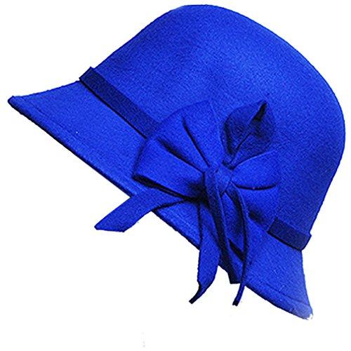 Belsen Damen wollen Bogen Temperament Schlapphut Mütze Fischer Hut (blau)