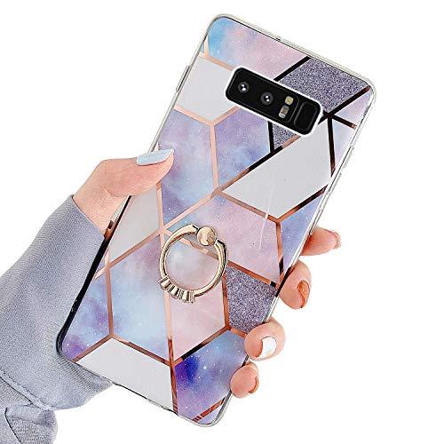 Uposao Kompatibel mit Samsung Galaxy Note 8 Hülle mit 360 Grad Ring Ständer Glitzer Bling Strass Glänzend Mädchen Männer TPU Silikon Marmor Muster Handyhülle Schutzhülle Tasche Case,Lila