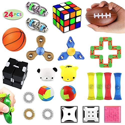 Fidget Toys Set 24 Pack, Sensory Toys for Adults Kids ADHD ADD Anxiety Autism, Stress Relief Toys for School Supplies Classroom Rewards, Birthday Party Favors, Carnival Prizes, Goody Bag Piñata Fillers