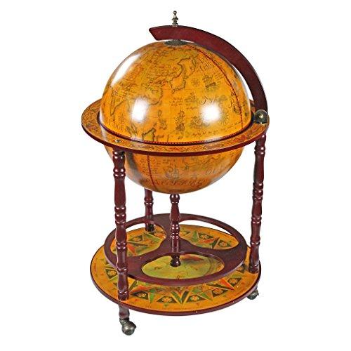 Design Toscano Mappamondo - replica italiana del sedicesimo secolo Mobile Bar dotato di rotelle, MDF e legno, seppia, 96,5 cm