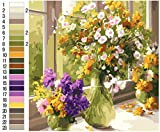 OyeArts Paint by Number for Adults, DIY Flower Oil Painting Kits Acrylic Canvas Painting of 16'x20' for Beginner to Advanced