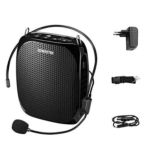 Zoweetek Amplificador de voz Altavoz portátil ligero recargable 1800mAh Continue 8–15H con micrófono para los profesores, entrenadores, guías, presentaciones, disfraces, etc.