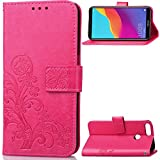 CoverKingz Handyhülle für Huawei Y7 Prime 2018 / Huawei Y7 2018 / Honor 7C - Handyhülle mit Kartenfach Y7 2018 / Honor 7C Cover - Handy Hülle klappbar Blumen Motiv Pink