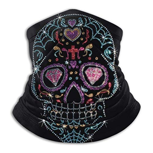 Rhinestone Studs Sugar Skull Unisex Microfiber Neck Warmer Headwear Face Scarf Mask For Winter Cold Weather Mask Bandana Balaclava