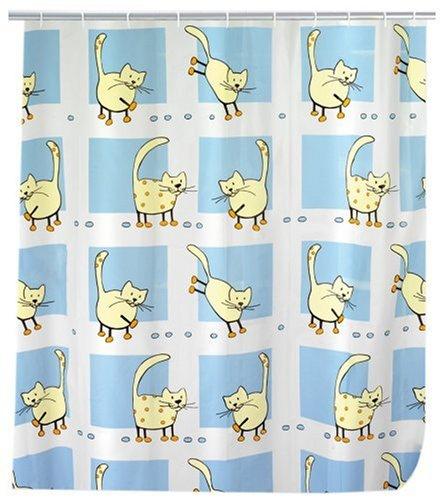 WENKO 19127100 Duschvorhang Cat - Kunststofffilm, 120 x 200 cm