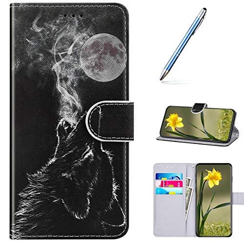 Kompatibel mit Huawei P40 Handyhülle Leder Handytasche,Flip Case mit Bunt Muster Schutzhülle Brieftasche Magnet Kartenfächer Lederhülle Kratzfest Tasche Bookstyle Klapphülle,Wölfen Heulen