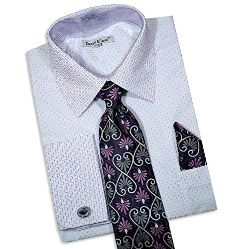 Daniel Ellissa Men's Long Sleeve Dress Shirt Tie Cufflink Hanky 3792 (2X-Large 18.5' Neck, 34-35' Sleeve) Lilac White