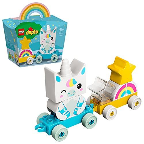 LEGO DUPLO Trenino Unicorno, Costruzioni per Bambini 1,5 Anni con 2 Stelle, Arcobaleno e 2 Vagoncini, 10953