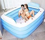 Wyujie Piscina Hinchable Niños Rectangular Adulto Piscina Hinchable Piscina Hinchable 180, Gruesa Y Duradera PVC, Azul,180x140x60cm